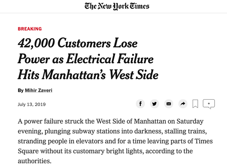 New York Power Outage - July 13th 2019