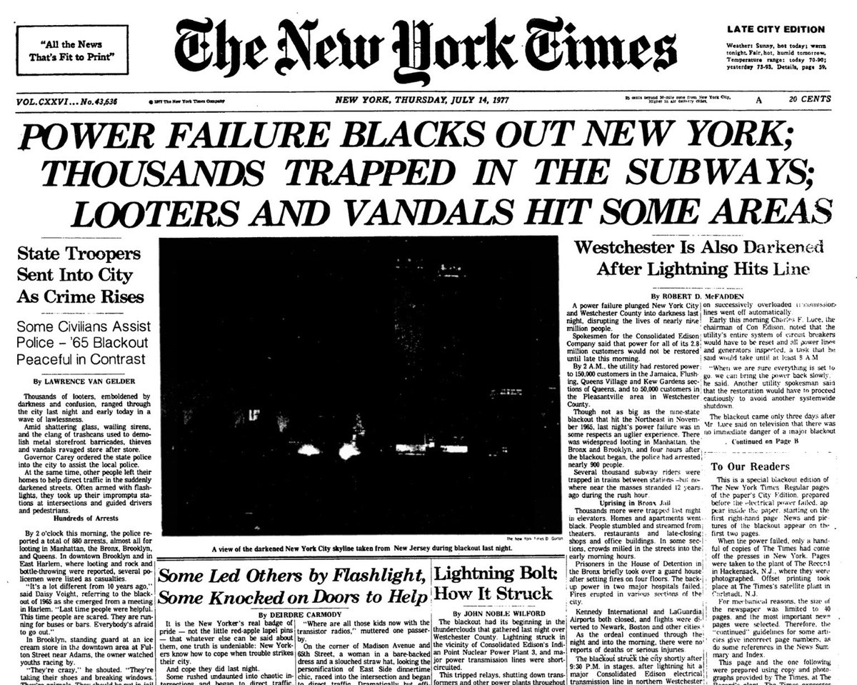 New York Power Outage - July 13th 1977