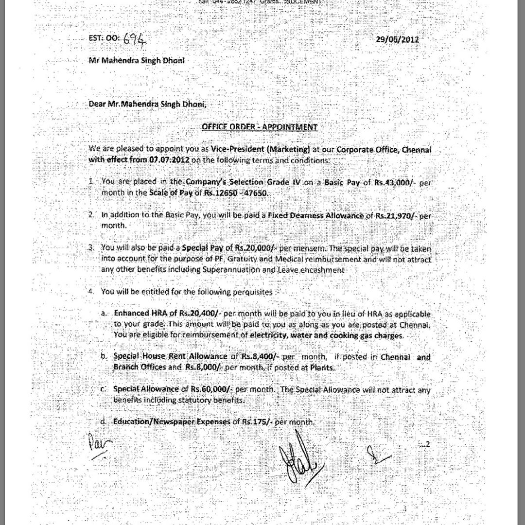 India Cements - M.S. Dhoni Appointment Letter