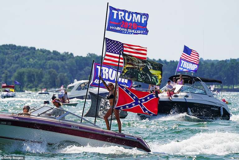 The majority of vessels pictured in Great American Boat Parade events were decked out in Trump 2020 flags, controversial Confederate flag and a swarm of American and Trump 2020 flags